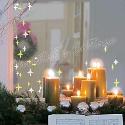 (83 Sparkling 4Points Star Glitter Dazzle Wall Art Shop Window Sticker Decoration)