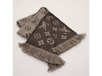 AUTHENTIC LOUIS VUITTON LV MONOGRAM PRINT LOGOMANIA BROWN WOOL SILK SCARF