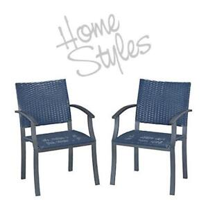 NEW* HOME STYLES ARM CHAIRS 2PK 88 6000 80 198079433 PATIO STONE VENEER SYNTHETIC WEAVE PACK OF 2