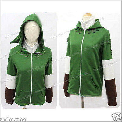 Link Hoodie Coat Sweatshirt with Minish Cap Cosplay Costume (Legend Of Zelda Link-hoodie)