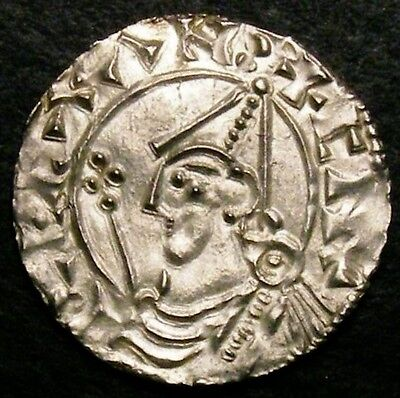 1016 King Cnut Hammered Silver Penny Pointed Helmet CGS 75 ☆☆☆ Price Reduced ☆☆☆