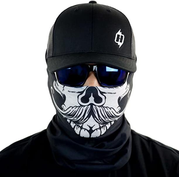 FACE MASK Purple Grin Sun Shield Neck Gaiter Headband Bandana Du Rag SPF40 Sport