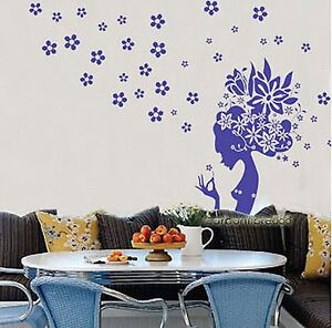 HUGE-Beautiful-Flower-Girl-Vinyl-Wall-Stickers-Removable-Art-Decals
