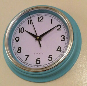 Retro duck egg blue home office kitchen wall clock ebay for Blue kitchen wall clocks