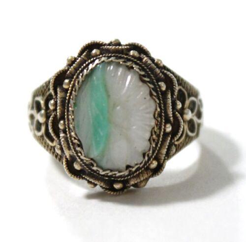 Vintage Sterling Silver Vermeil Chinese Jade Ring