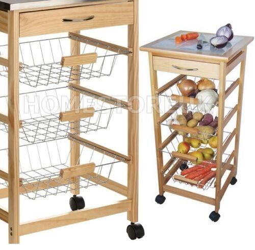 Kitchen Vegetable Storage Baskets: CERAMIC WORKTOP WHEELED STORAGE TROLLEY FRUIT VEGETABLE