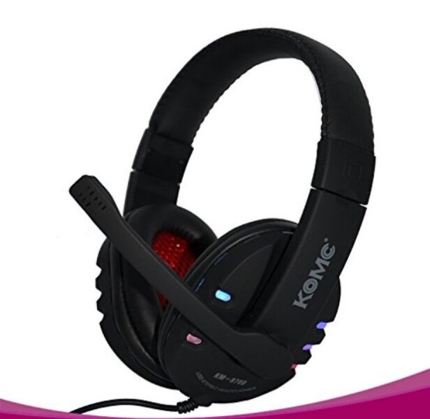 KOMC KM-9700 USB Flash Stereo Gaming Headphone with Noise Cancelling Feature, LED light, 3.5 MM Plug