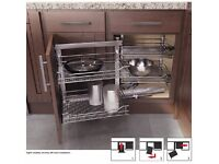 Wari Corner K900 L Cabinet - Storage shelf for kitchen cabinet with folding door for tight corners