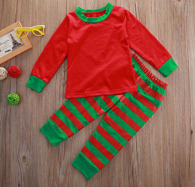 Kinder Schlafanzug Mädchen Jungen Pyjama Set Weihnachten Ringel 2tlg Gr. 92-104 ()