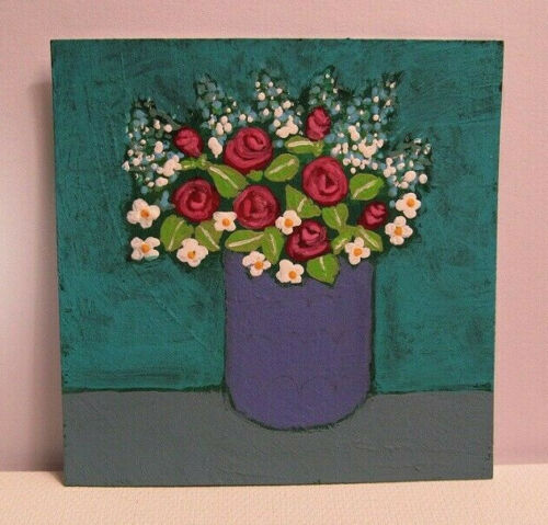Original Miniature Painting, RED ROSES PURPLE VASE, 3x3 inch on art paper