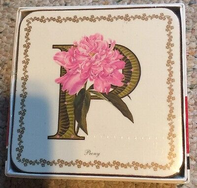 6 Coasters Pimpernel Alphabet Floral Peony Flower Letter P NEW Sealed With Box