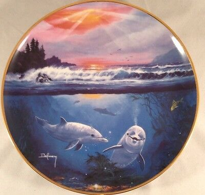 Franklin Mint Limited Edition Dance of the Dolphin Collector Plate Delmary Ocean