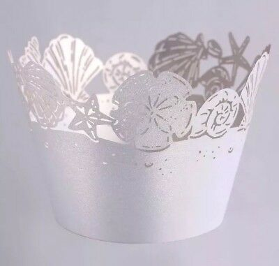 BEACH Paper Cupcake Holders Wrappers Cases Beach Decor 12 Pcs - Decorative Cupcake Holders