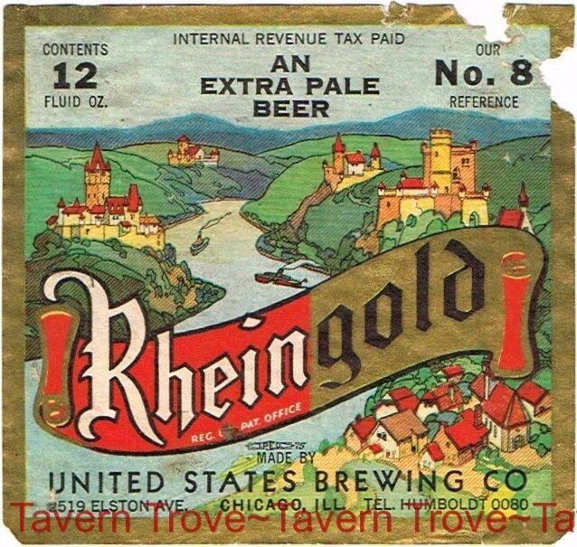 1930s ILLINOIS Chicago United States RHEINGOLD BEER No. 8 12oz IRTP Label