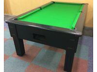 Ebony Square Leg Pool Table & Snooker Table (7x4 Slate Bed)