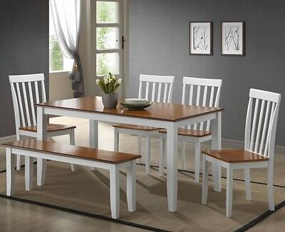 6 Pc White Dining Room Set Kitchen Table Chairs Bench Wood Furniture Tables Sets