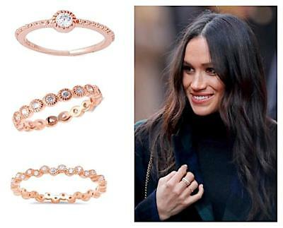 3 Piece Ring Set CZ Bezel Milgrain Stackable Eternity Band Rose Gold 925 5-10 ()