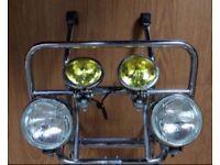 Lambretta vespa scooter folding front rack carrier with spotlights spot lights li gp 125 150