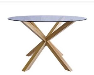 LATHLAIN TIMBER & GLASS TOP DINING TABLE-NEW Balcatta Stirling Area Preview