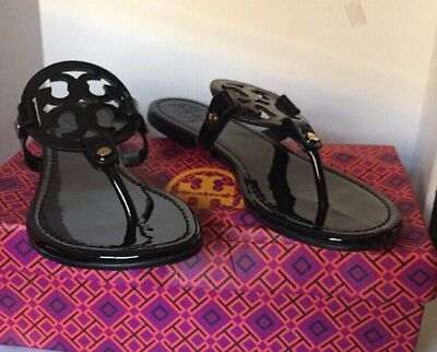 New Tory Burch Miller Sandals Black Patent Leather Shoes Size 7 M-  shipping