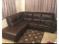 Brown leather corner sofa V good condition can deliver