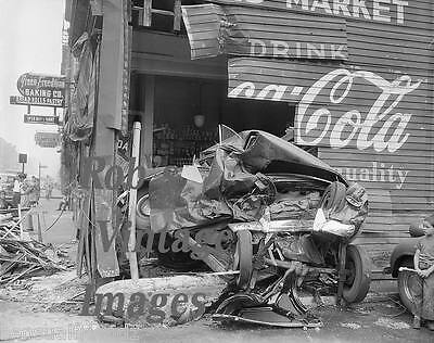 Vintage car wreck 1930s Crash into building Coca Cola ad antique photo print