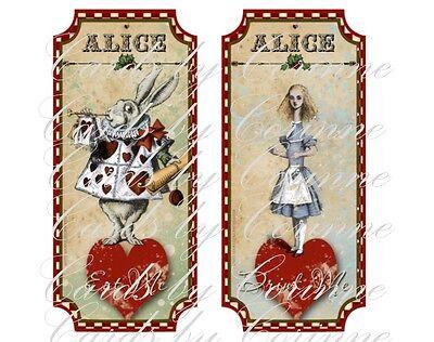 10 Alice in Wonderland Christmas party Drink Me, Eat Me labels](Eat Me Drink Me Labels)