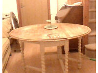 SOLID OAK barley twist gateleg table, legs pinted in Annie Sloan Old White