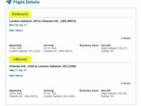 2 x VA FLIGHT TICKETS TO ORLANDO (USA)