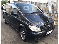 LHD LEFT HAND DRIVE MERCEDES VITO 109 CDI 2005 LWB LONG BLACK 6 SEATER CLEAN VAN