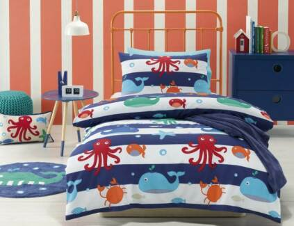 Sea Creatures Single Quilt Cover Set by Jiggle & Giggle