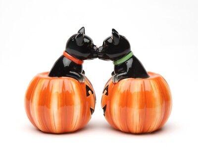 Black Cat Pumpkins Halloween Ceramic Magnetic Salt and Pepper Shaker Set Decor