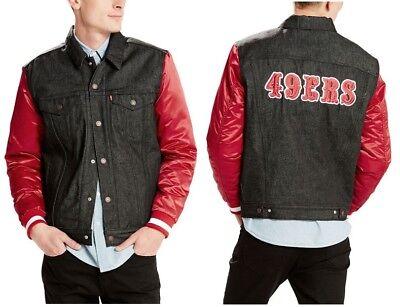 Levi's NFL San Francisco 49ers Denim Varsity Trucker Jacket, Style 211960001 NWT