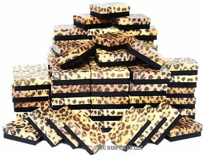 Lot Of 100 Leopard Cotton Filled Box Jewelry Gift Boxes Jewelry Ring Box Deal
