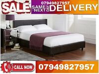 Double Size Leather Bed Frame Only Or Choice Of Different Mattresses HAGSG