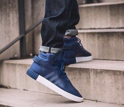 Adidas Mens Tubular Invader Hi Top Trainers Shoes Blue S81793 UK 10.5