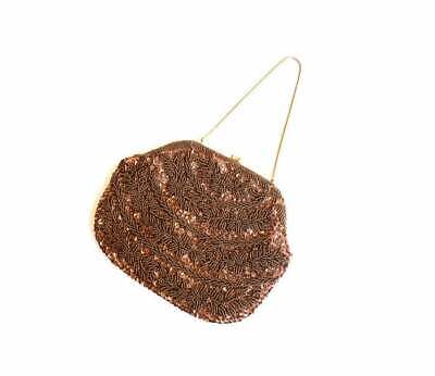 1920s Style Purses, Flapper Bags, Handbags BRONZE BROWN SEQUIN Beaded Floral Clutch purse HB03 Lanza Italy 1920s Filligree  $23.21 AT vintagedancer.com