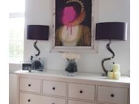 RRP £240 pair of BHS table lamps light art deco modern metal hotel bedside lamps