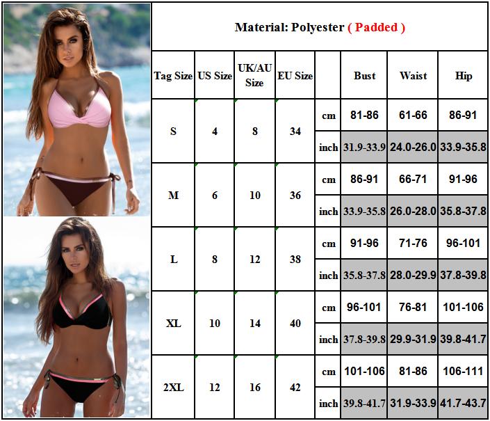 Damen Neckholder Brasilien Bikini Set Padded BH Bademode Badeanzug Schwimmanzug