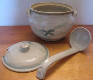 Pottery soup tureen and ladle