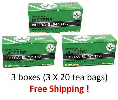 Dieters Nutra Slim Tea  Extra Strength Triple Leaves Brand 20 Tea Bags   3Boxes