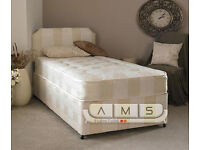 **CHEAPEST OFFER**BRAND NEW 3ft SINGLE DIVAN BED BASE WITH SEMI ORTHOPAEDIC DEEP QUILTED MATTRESS