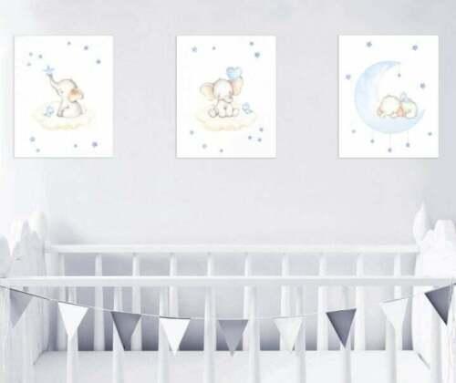 Nursery Decor Wall Art Kids Room Blue Elephant Prints Set Of 3