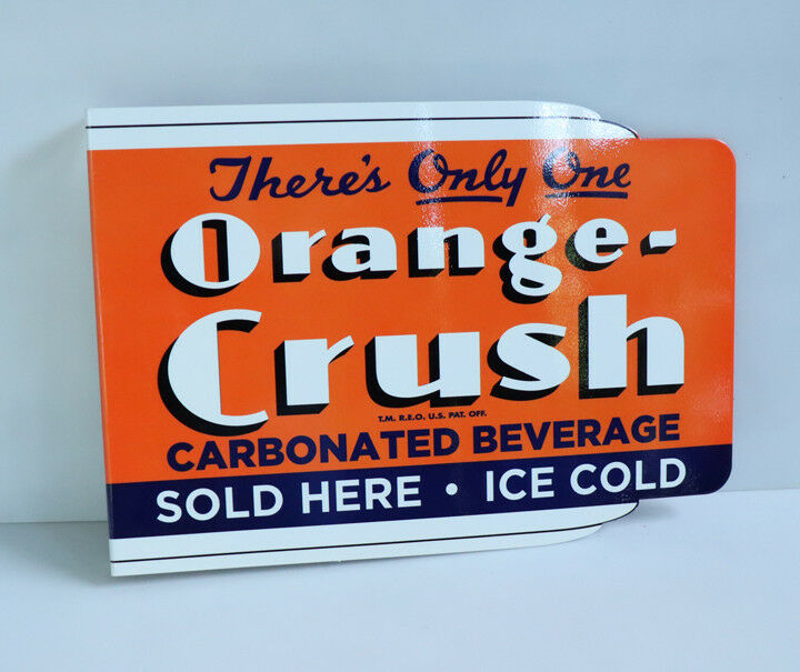 ORANGE CRUSH Sold Here! ICE COLD Soda Pop  Flange Sign     Modern Retro