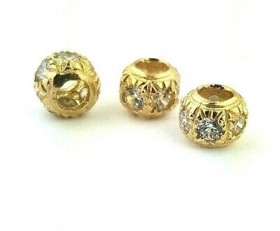 10K Solid Yellow Gold Diamond Spacer Bead Ball for Pendants Charms Necklaces - Gold Diamond Square Pendant
