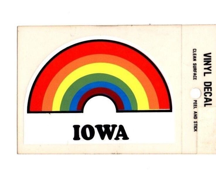 Lot of 12 Iowa Rainbow Souvenir Luggage Decals Stickers - New - Free S&H