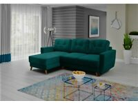 * Velvet * SPRUNG SEAT * corner sofa bed * BRAND NEW * affordable delivery available