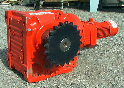 Right Angle Gear Motor .75 Hp 14301 Ratio 1.2 Rpm Jeamar Winches Mn Gm-k-97-7