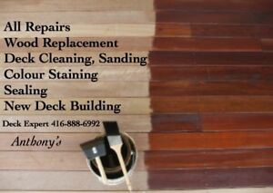 DECK STAINING, NEW DECK BUILDING 416-888-6992