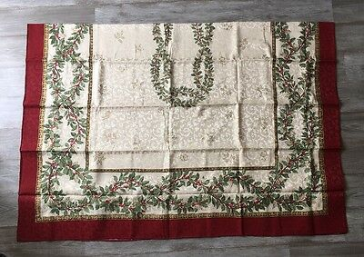 Ivory Holly - Holly Ivy Tablecloths Red Ivory Green Rectangle Oval Holiday Decor